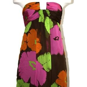 MILLY MULTI-FLORAL STRAPLESS DRESS SIZE 4
